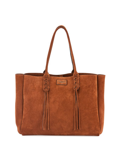 Medium Suede Tassel Tote Bag, Brown