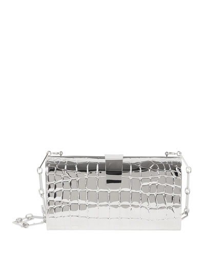 Rebekah Croc-Print Metal Clutch Bag, Silver