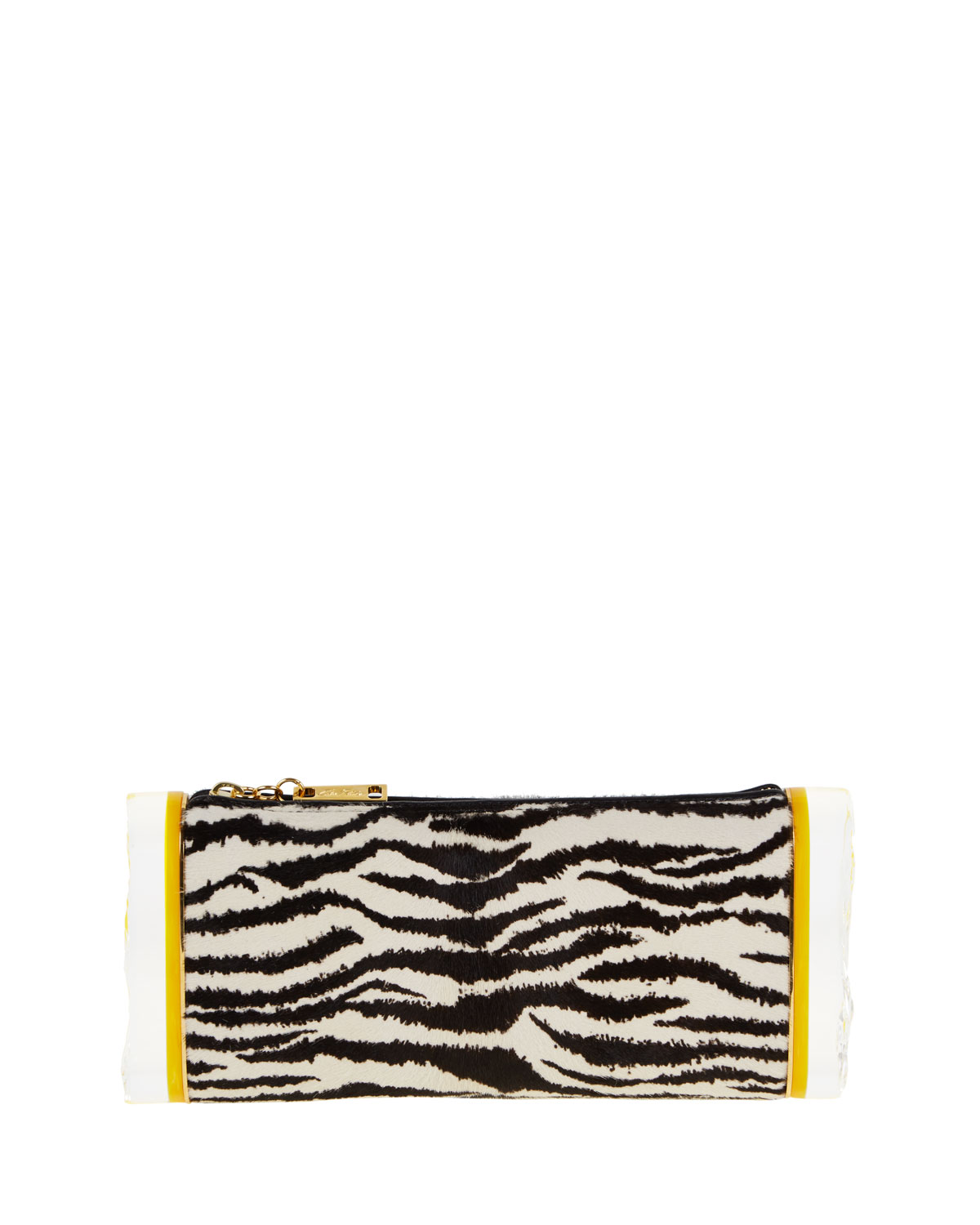 Soft Lara Zebra-Print Calf Hair Clutch Bag, Black/White