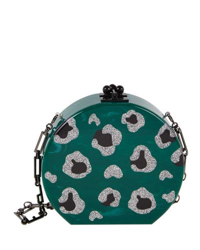 Oscar Round Leopard-Print Clutch Bag