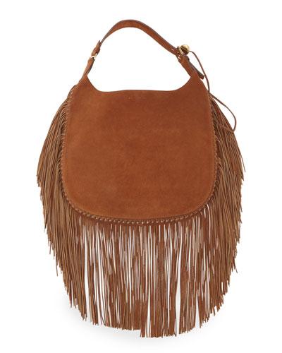 Flat Suede Hobo Bag w/Fringe, Brown