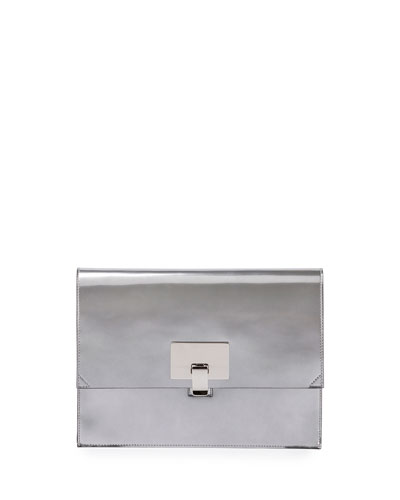 Small Metallic Lunch Bag Clutch, Silver