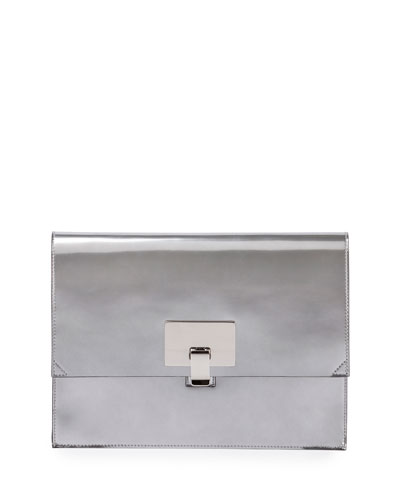 Large Metallic Lunch Bag Clutch, Silver