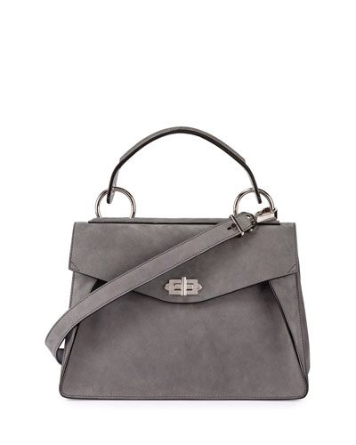 Hava Medium Nubuck Top-Handle Satchel Bag, Gray