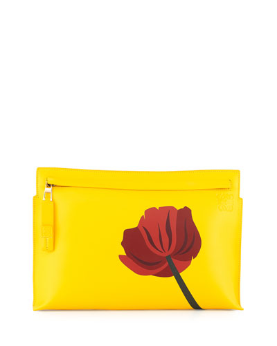 Fiore Leather Zip Pouch, Yellow/Red