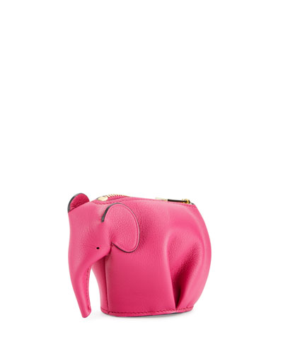 Leather Elephant Coin Purse, Fuchsia