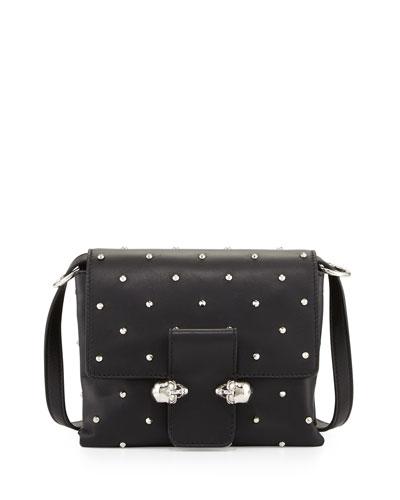 Tin Skull Leather Crossbody Bag, Black