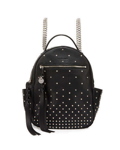 Studded Leather Chain Backpack, Black