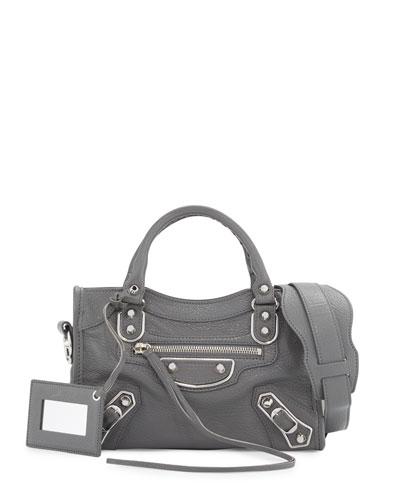 Metallic Edge City Mini Bag, Gris Acier