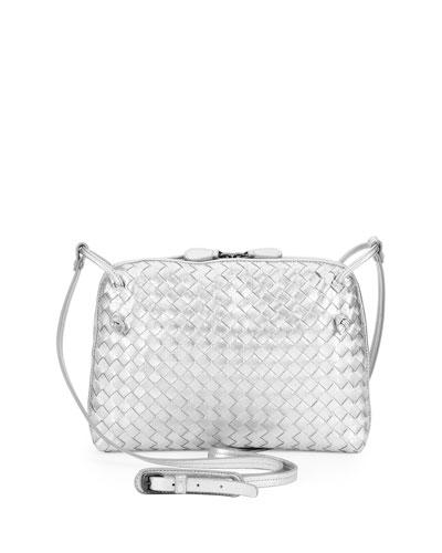 Veneta Small Woven Messenger Bag, Silver