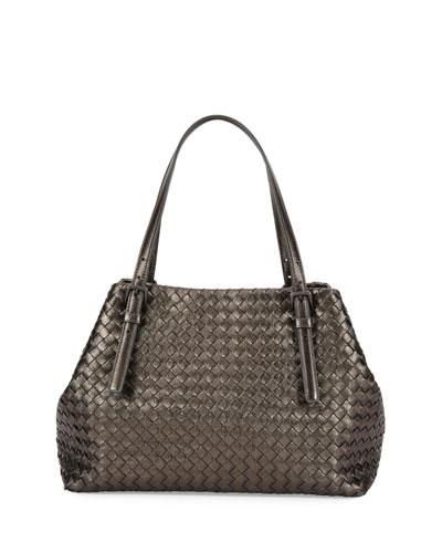 A-Shape Medium Woven Tote Bag, Brunito