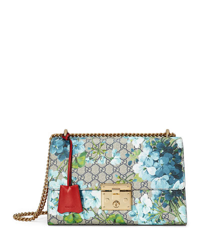 Padlock GG Blooms Shoulder Bag, Blue/Red