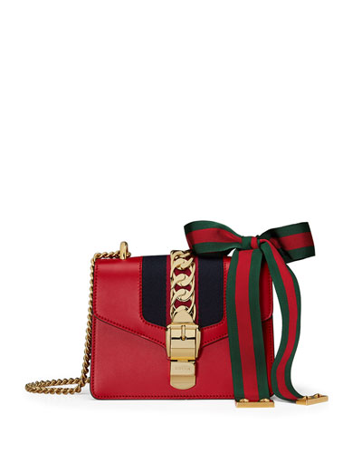 Sylvie Leather Mini Chain Shoulder Bag