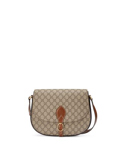GG Supreme Medium Flap Saddle Bag, Beige/Ebony/Cuir