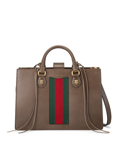 Gucci Animalier Large Leather Top Handle Bag, Brown