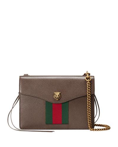 Animalier Leather Shoulder Bag, Brown