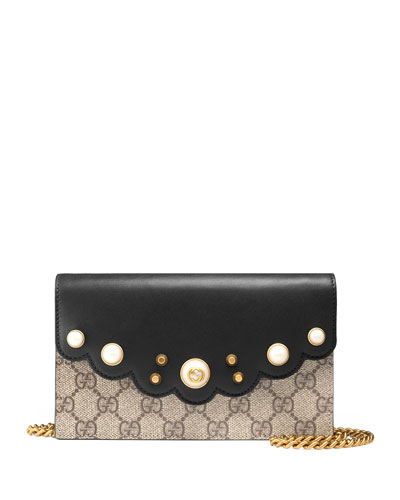 Peony GG Supreme Pearly Mini Wallet-On-Chain, Beige/Ebony/Nero