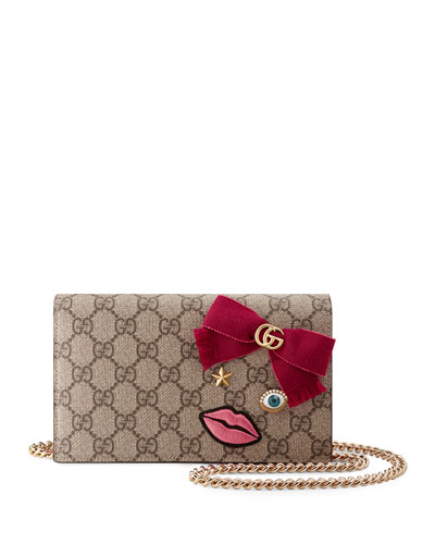 Embroidered-Face Mini Chain Bag, Brown