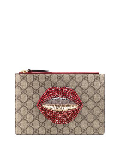Merveilles Lips Small Pouch Bag, Brown