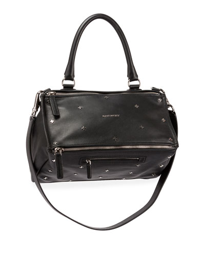 Pandora Mini Metal Cross-Studded Satchel Bag, Black