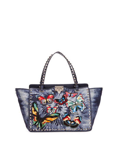 Rockstud Butterfly-Embroidered Tie-Dye Tote Bag, Denim