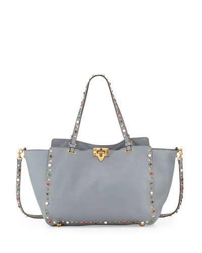 Rockstud Rolling Leather Tote Bag