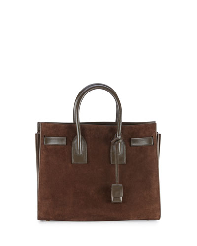 Sac de Jour Small Suede Carryall Tote Bag, Coffee