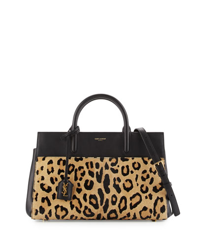 Cabas Rive Gauche Small Calf-Hair Tote Bag, Naturel/Noir