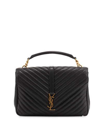 Monogram Collège Large Chain Shoulder Bag, Black/Gold