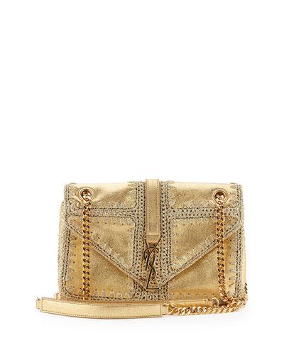 Monogram Medium Macrame Slouchy Chain Shoulder Bag, Gold