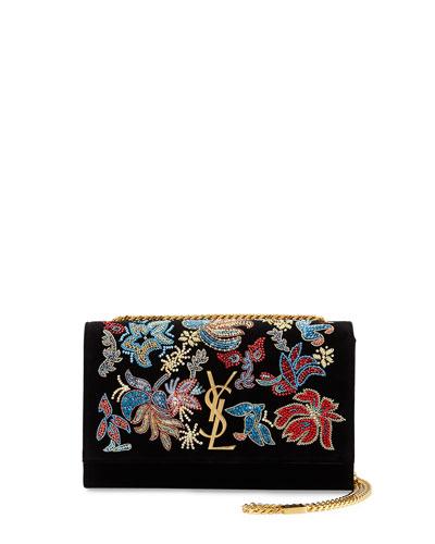 Kate Monogram Medium Floral Chain Shoulder Bag, Black/Multi