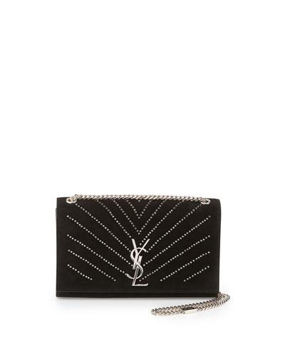 Monogram Medium Kate Crystal Chain Shoulder Bag, Black