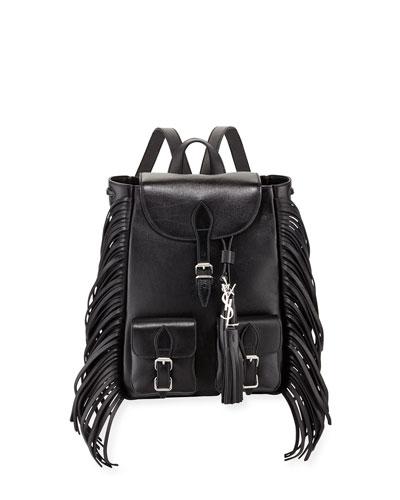 Festival Fringe Small Leather Backpack, Black
