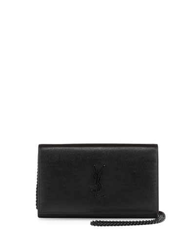 Monogram Leather Chain Wallet, Black