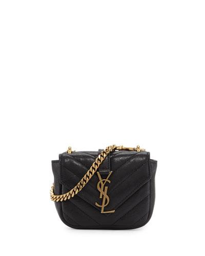 College Mini Matelassé Bag, Black