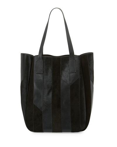 Bond Striped Calf Hair Tote Bag, Black