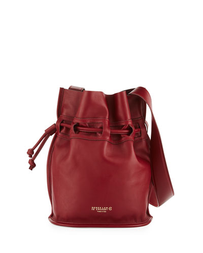 Mini Bowery Leather Bucket Bag, Red