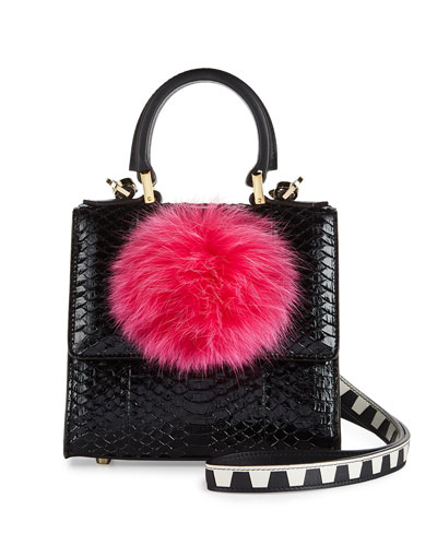 Micro Alex Snakeskin Bunny Bag with Fur Pom, Black/Pink