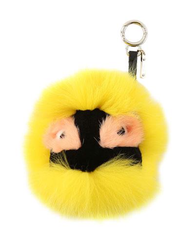 Fur Monster Charm for Handbag, Fluorescent Yellow