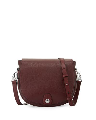 Flight Leather Saddle Bag, Plum