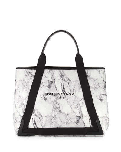 Navy Cabas Medium Marble-Print Tote Bag, White/Black