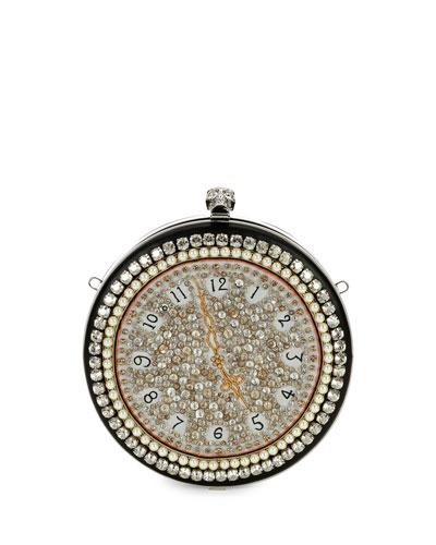 Pocket Watch Skull Clutch Bag, Multi