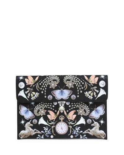 Butterfly-Print Leather Envelope Clutch Bag, Black Pattern