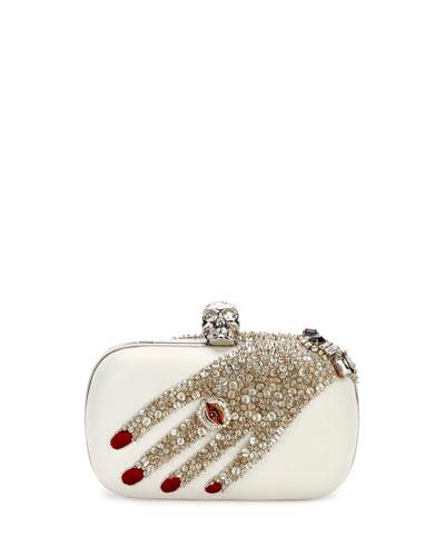 Jeweled-Hand Classic Skull Clutch Bag, Ivory