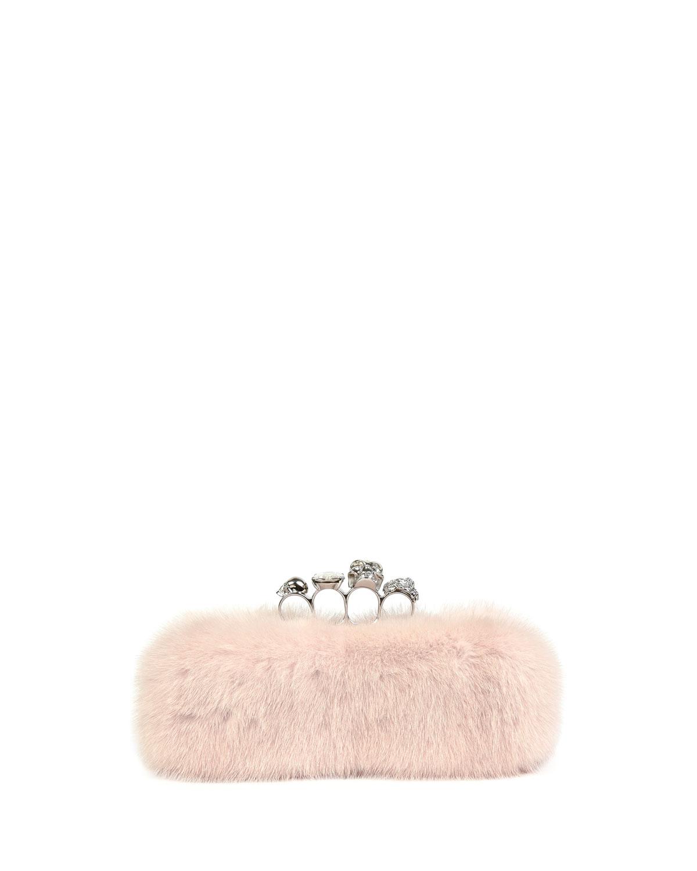 Mink Fur Knuckle Clutch Bag, White