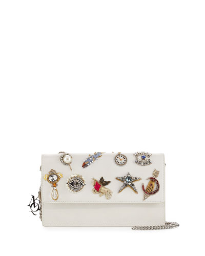 Charm Leather Chain-Strap Pouch, Ivory