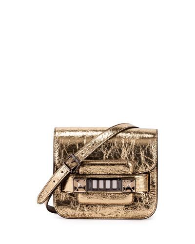 PS11 Tiny Metallic Satchel Bag, Gold