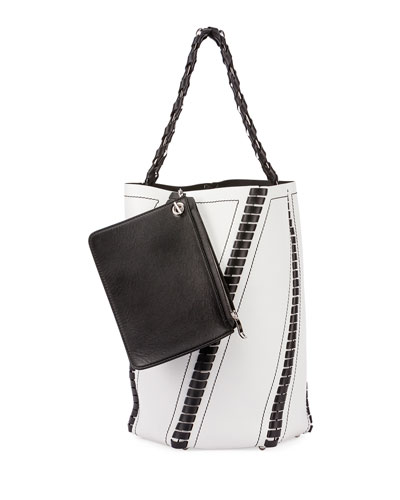 Hex Medium Whipstitch Leather Bucket Bag