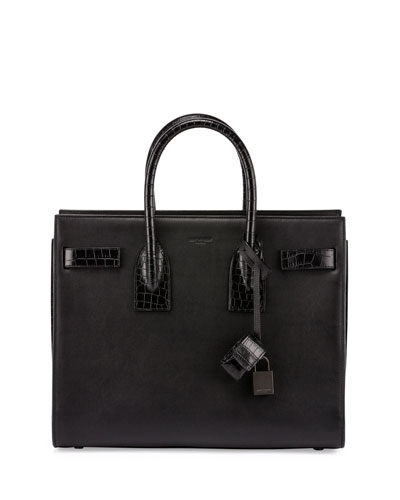 Sac de Jour Small Stamped-Croc Satchel Bag, Black