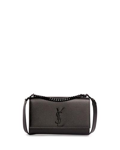 Kate Monogram Medium Leather Tassel Shoulder Bag, Black (Noir)